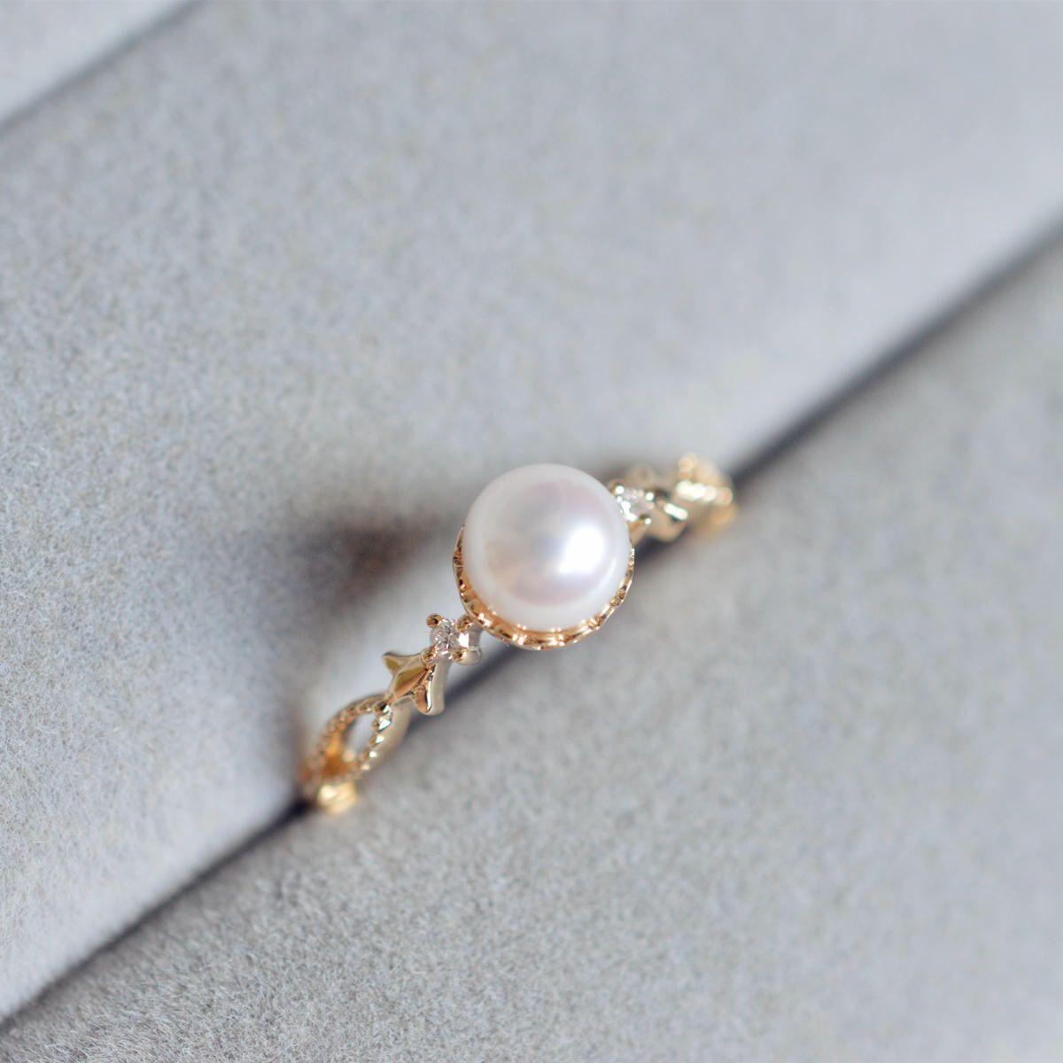 Pearl Engagement Ring 18k Gold Vintage 14k Rose Diamond Antique Akoya