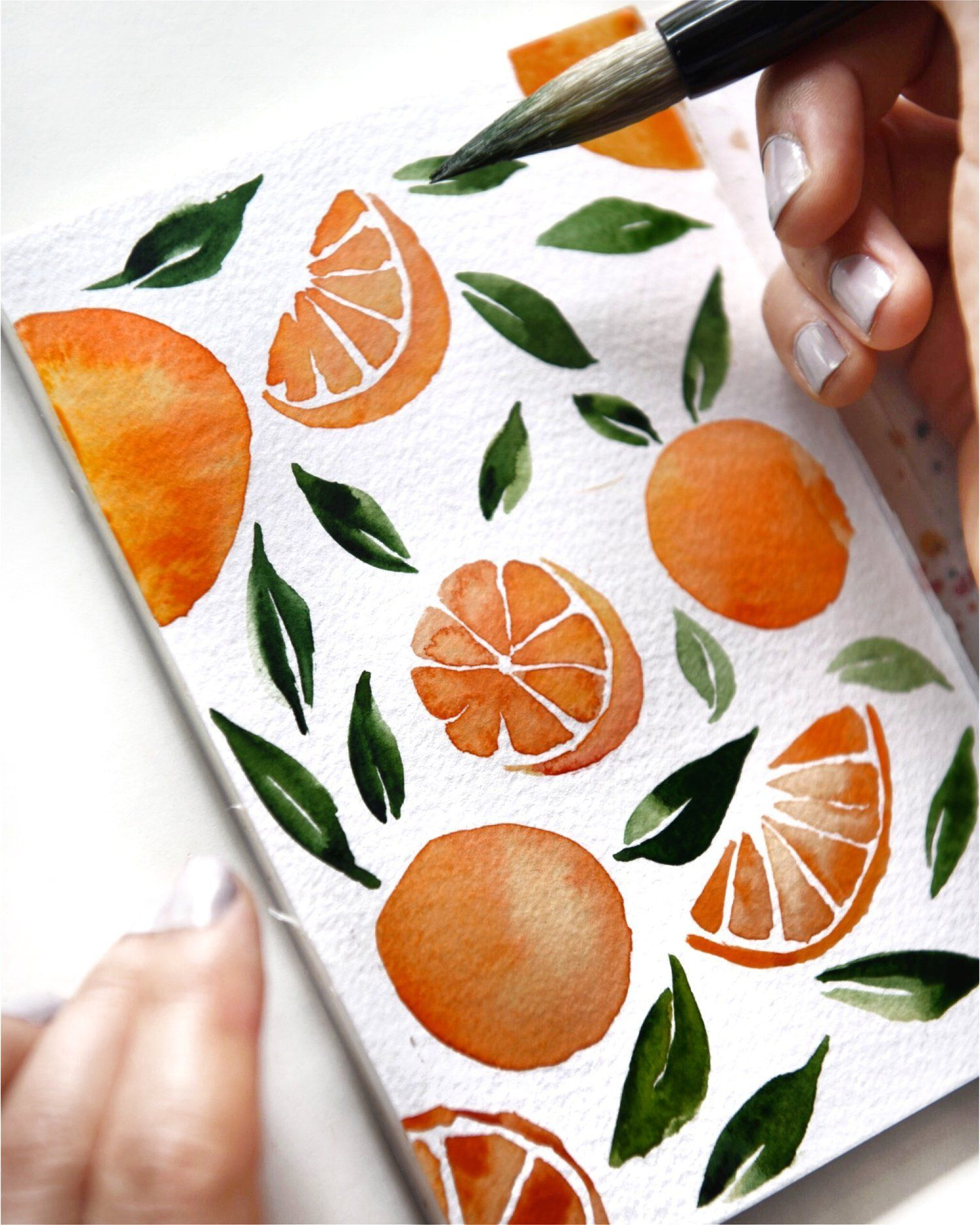 Watercolor Tutorial: How to Paint A Cute Orange Pattern — Summer Sun Home Art | Therapeutic