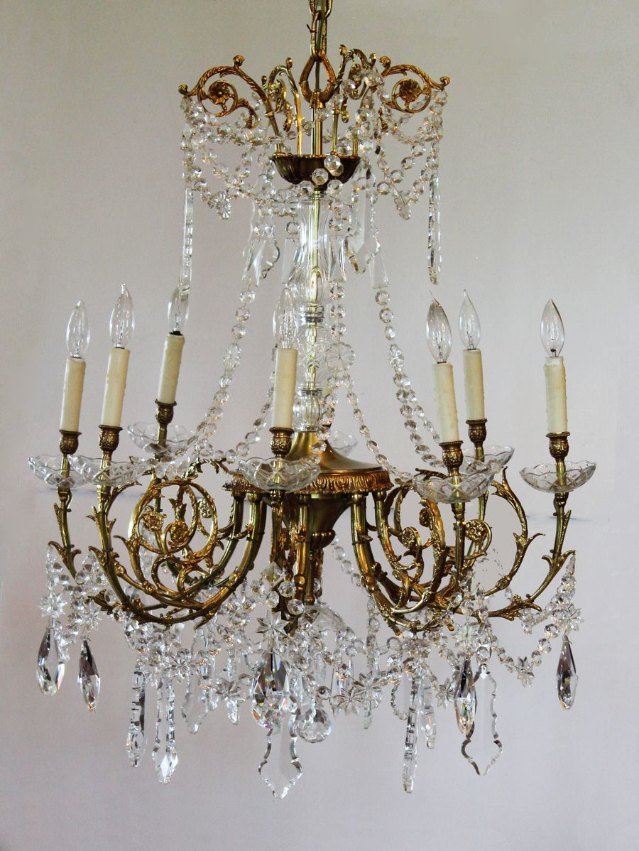 Antique Rare Baccarat Gilt Bronze Crystal Chandelier Showstopper-antique,  chandelier, hanging light, - Antique Rare Baccarat Gilt Bronze Crystal Chandelier Showstopper