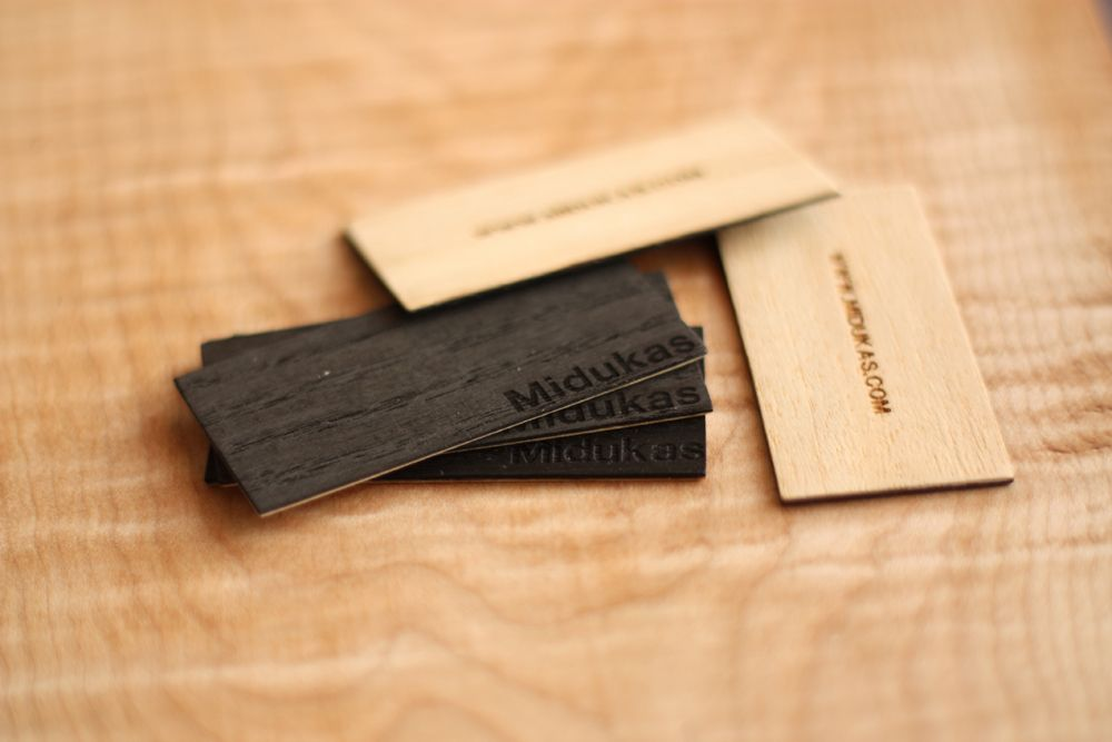 Business Cards. Made from layers of Beechwood and Black Oak Veneer ...