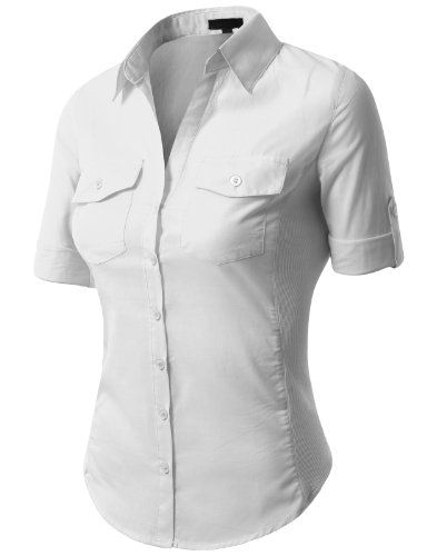 J.TOMSON Womens Button Down Shirt With Ribbed Side Trim   Tops ...