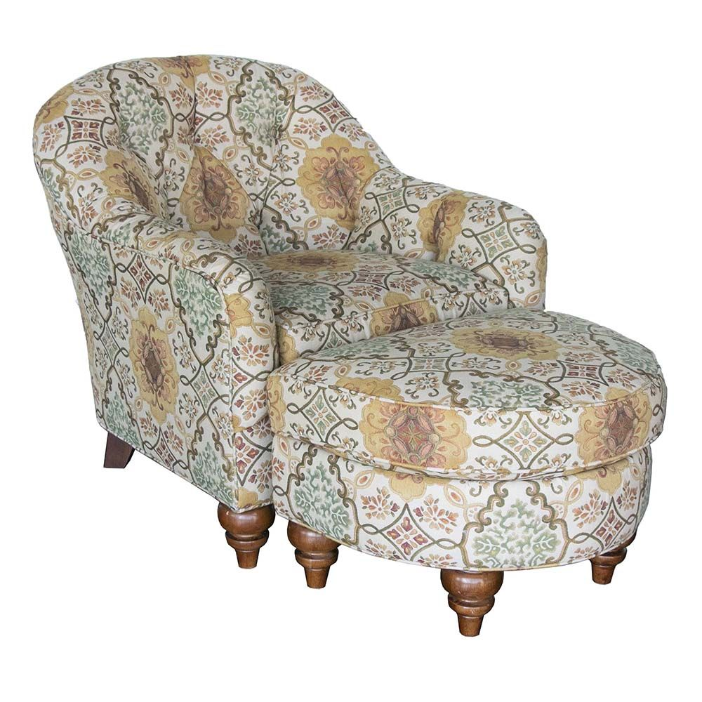 Bassett Tufted Chair And Ottoman Coral Gold Green Lattice In 2020 Chair And Ottoman Tufted Chair Chair