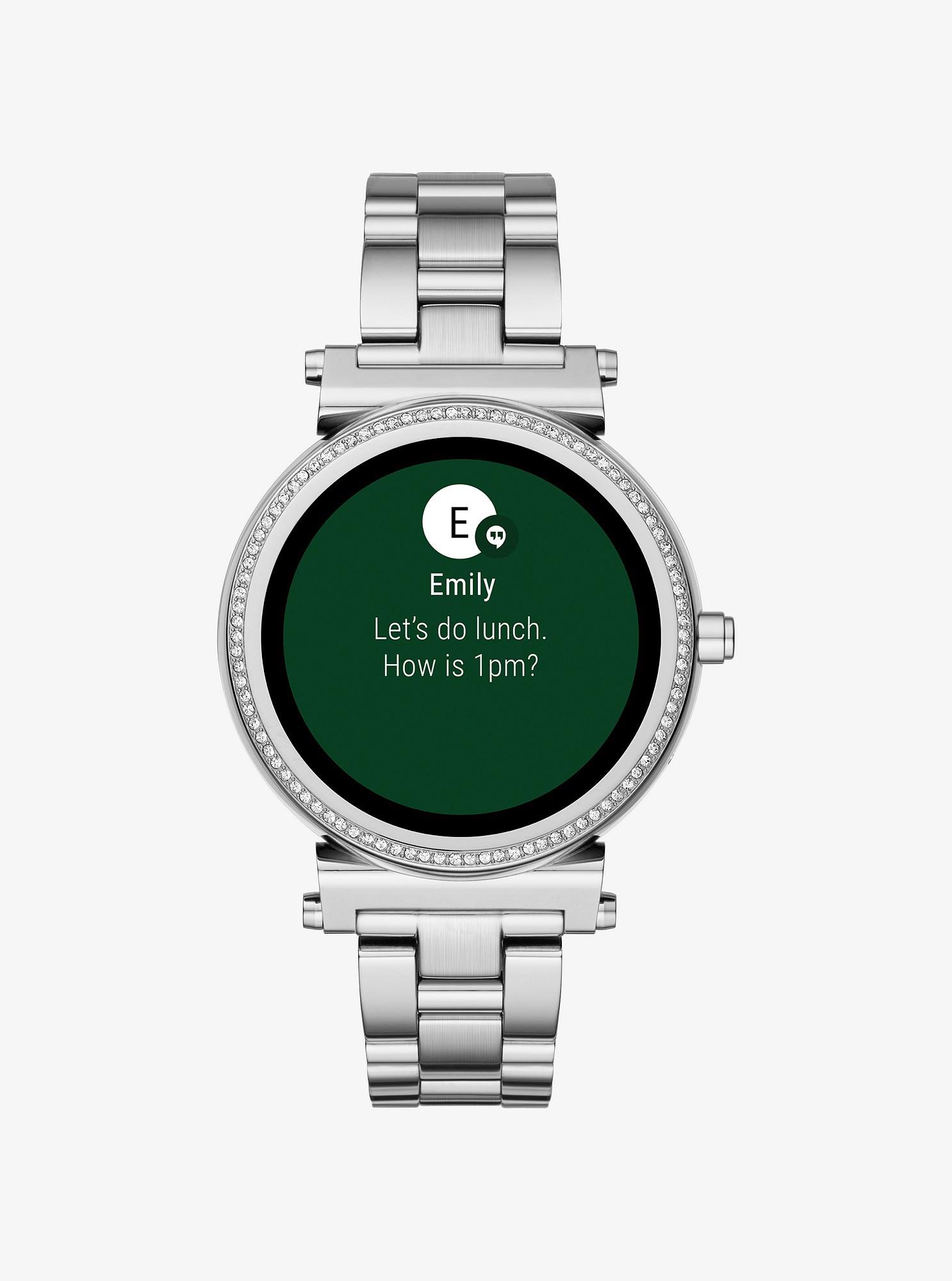 Michael Kors Sofie Pavé SilverTone Smartwatch Silver
