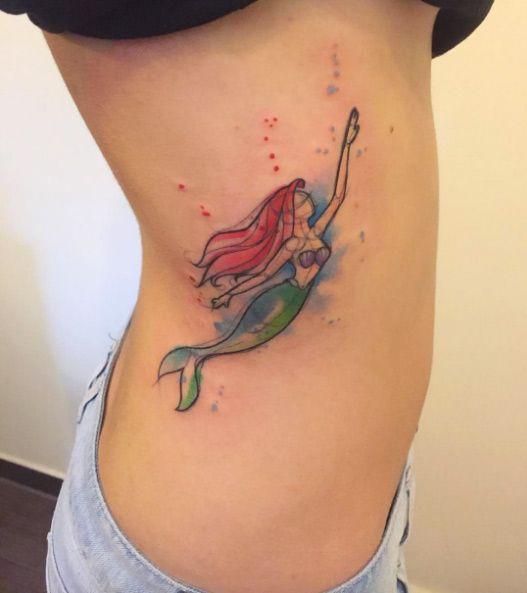 Watercolor Ariel tattoo on rib cage by Bora Tattoo Studio