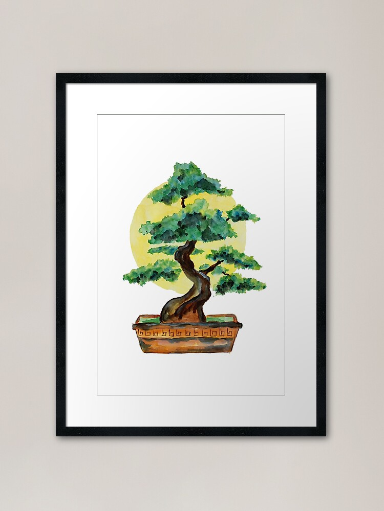 Bonsai Tree Sunshine Framed Print By Zeichenbloq In 2020 Unique Art Prints Framed Art Prints Poster Prints