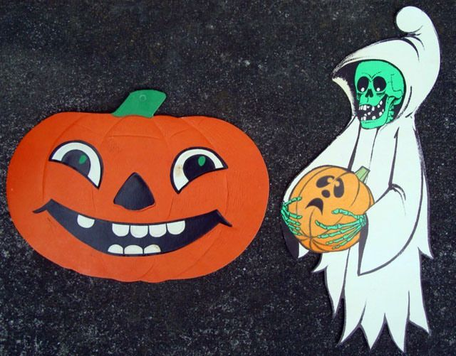 vintage beistle halloween decoration jack o lantern and ghost - Old Fashioned Halloween Decorations
