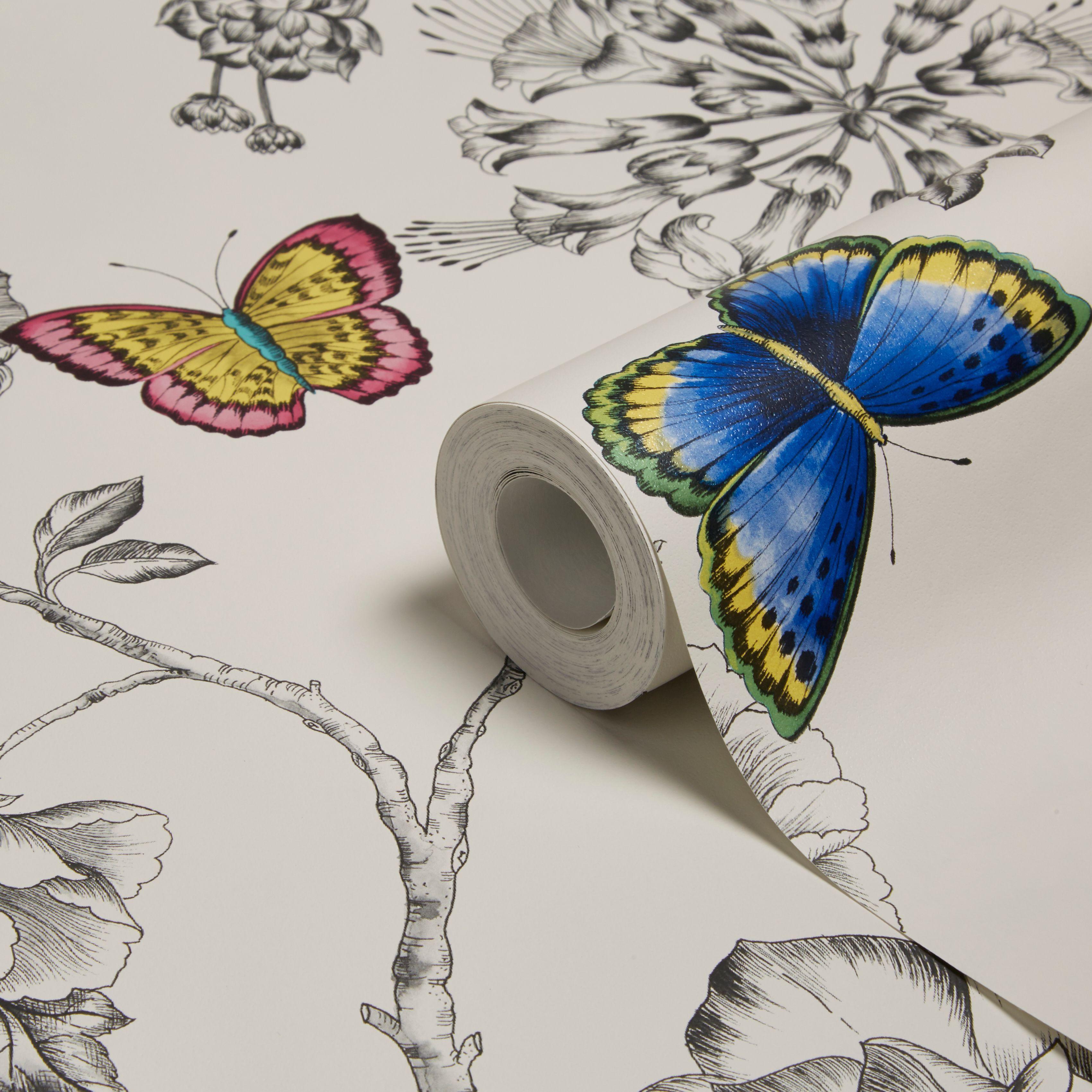 Holden Décor Keilena White Floral Butterflies Wallpaper