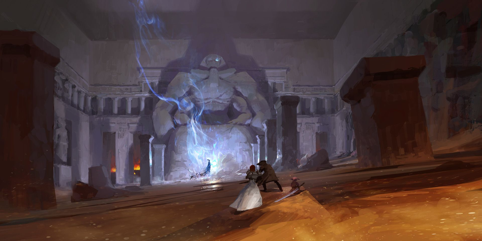 Artstation Tomb Of The Primeval Kings Guild Wars 2 Path Of Fire Zhengyi Wang Guild Wars Science Fiction Art Retro Guild Wars 2