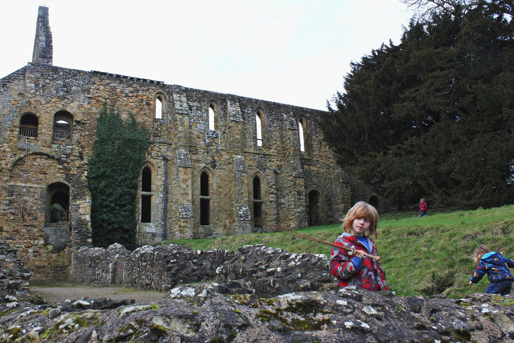 1066 Battle of Hastings - fun family day out - tearing around the abbey ruins