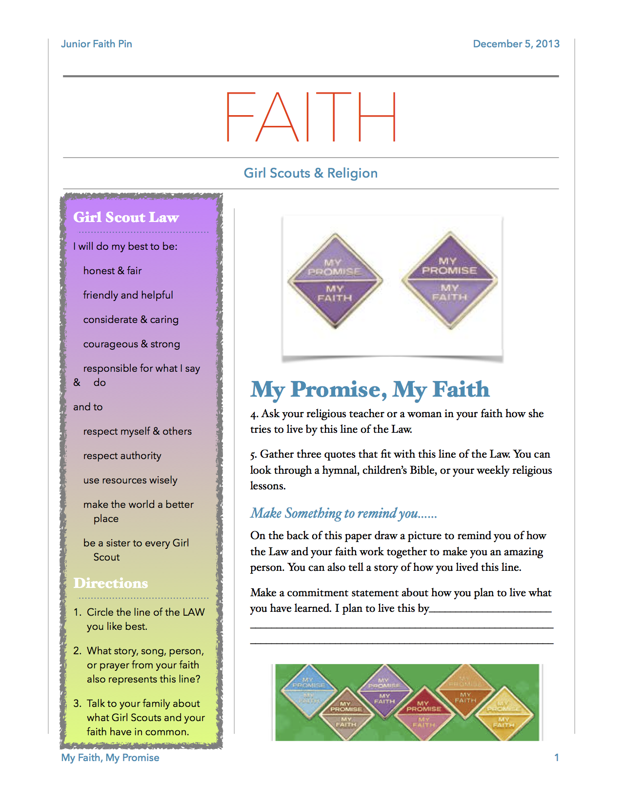 My Faith Pg 1 This Is An Easy Worksheet To Help Girls