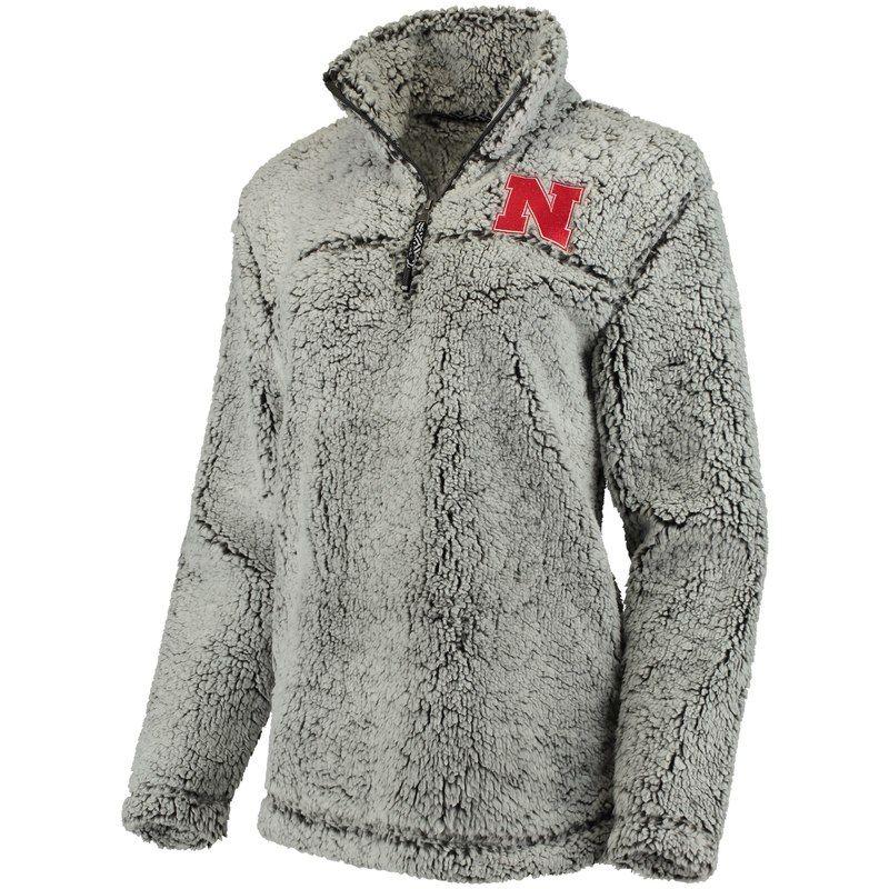 Women s Gray Nebraska Cornhuskers Sherpa Super Soft Quarter-Zip Pullover  Jacket 3daa3d327