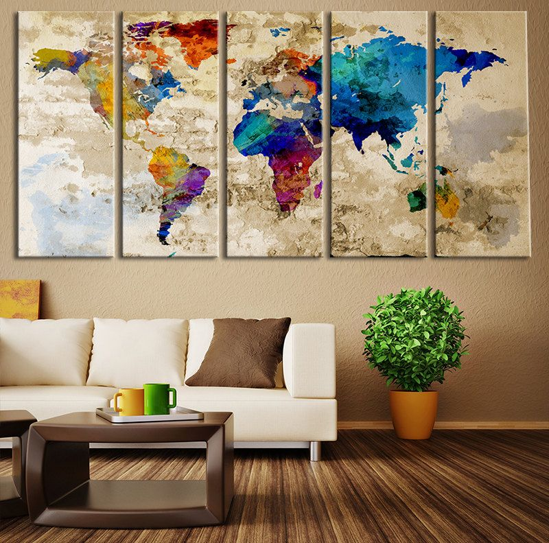 Impresión Del Arte De La Lona Mapa Por Extralargewallart World Map Canvas Art Print Large Wall Par Living Room