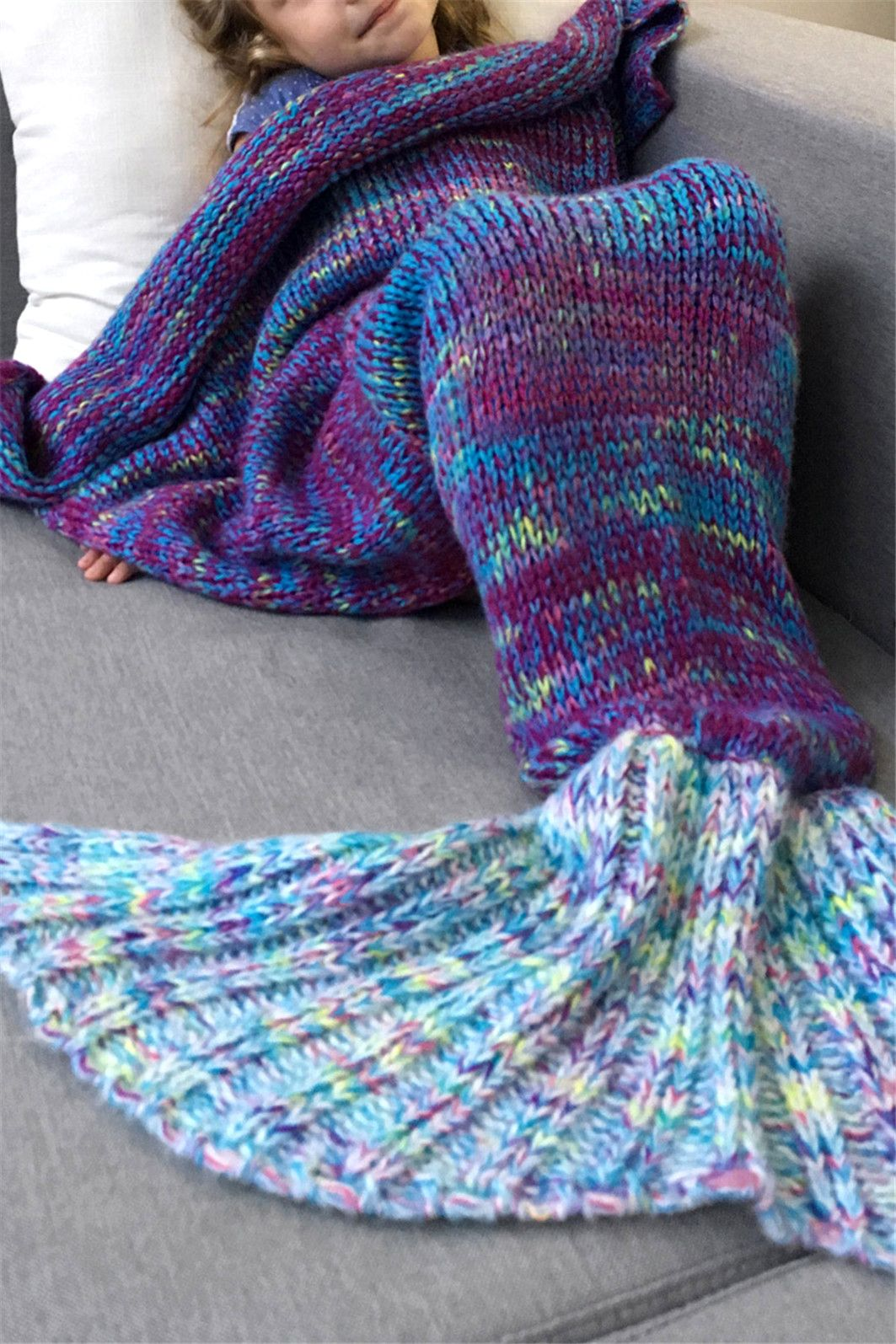 Warm and Soft Knitted Sofa Kids Mermaid Tail Blanket - Blue - M ... 92b47a19e