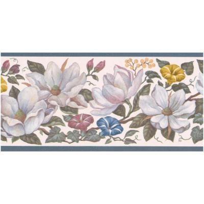 Retro Art White Yellow Red Blue Flowers on Vine Aegean Blue Trim Floral Prepasted Wallpaper Border, Multi #blueflowerwallpaper