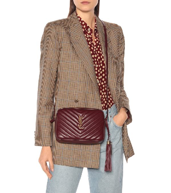 Lou Camera Leather Crossbody Bag In Red Leather