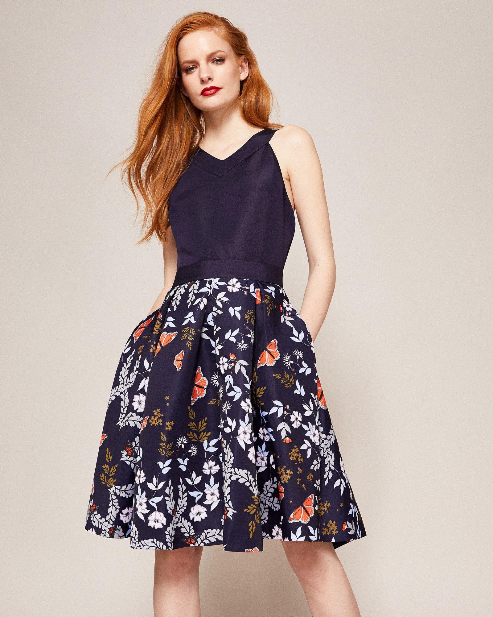 6c659d837 Ted Baker Kyoto Gardens full skirt dress Navy