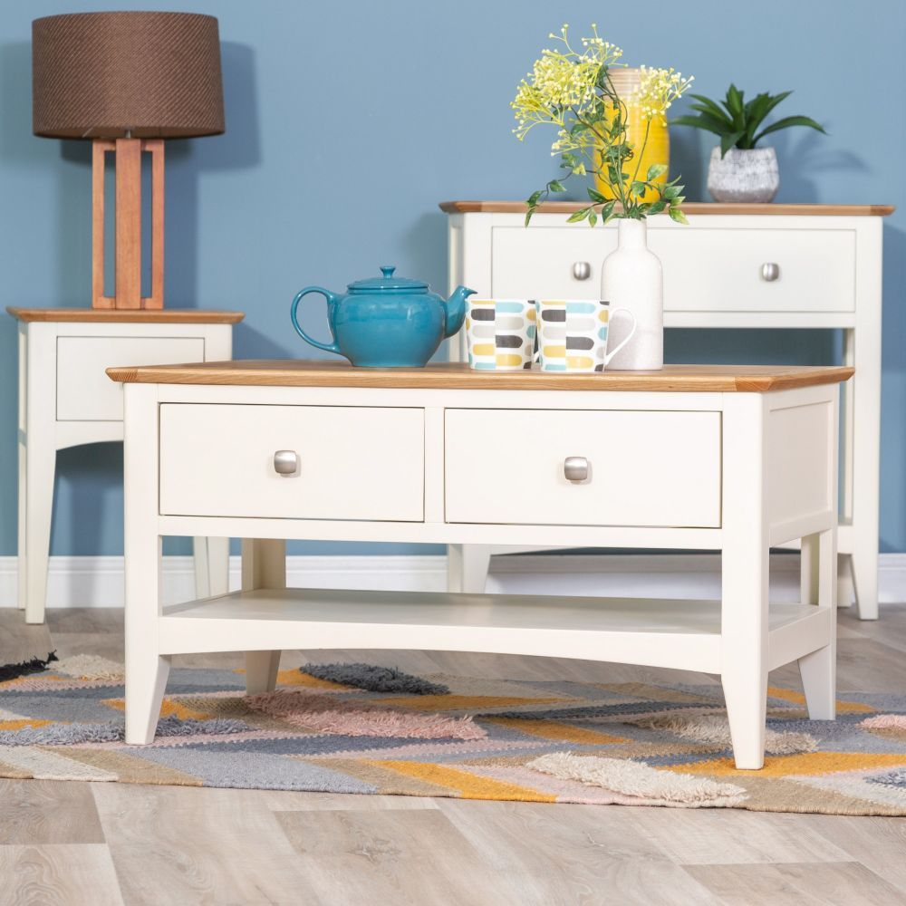 9beda6a5c9cb Malvern Shaker Ivory Painted Oak 2 Drawer Coffee Table #chilternoak A 2  drawer coffee table