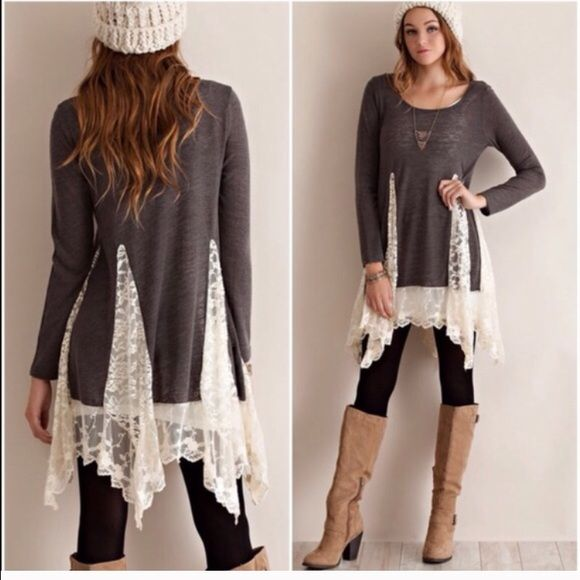 96d5a96bd688 ️Oversized Slouchy Boyfriend Knit Tunic DO NOT BUY THIS LISTING Beautiful  Loose tunic with feminine ️LACE trim detail . Lovely detailing .