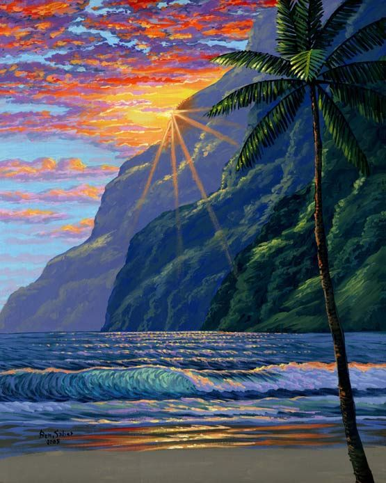 Hawaiian Beach Mountain Sunset
