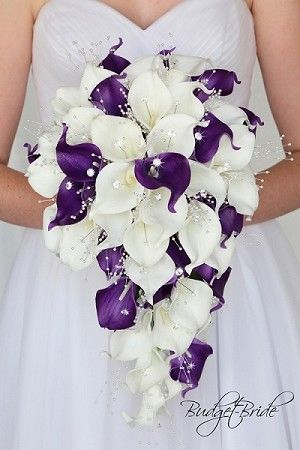 Cascading purple and white calla lily wedding flower brides bouquet with calla lilies, roses, pearls, jewels, bling, orchids, lambs ear, seeded eucalyptus fake artificial silk flowers #purpleweddingflowers