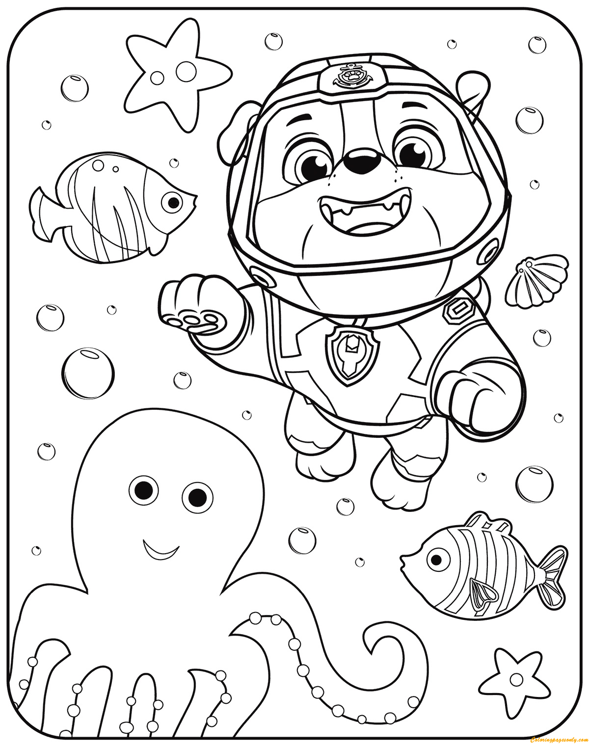 Paw Patrol Rubble Underwater Coloring Page