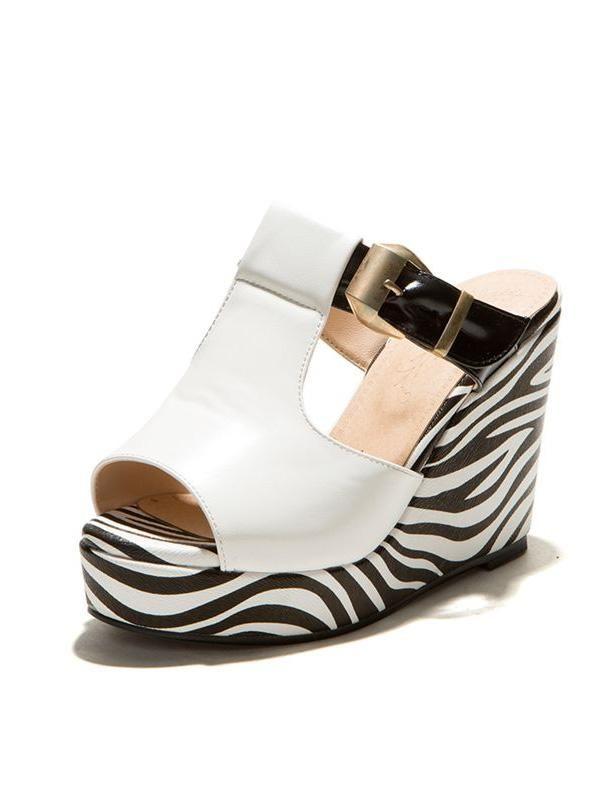 Fashion Sandals 10cm High Wedge Heel Zebra Pattern Platform Shoes