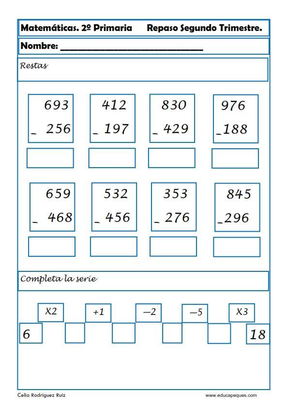 Ejercicios de matemáticas para segundo de primaria | Math 2° Grade ...