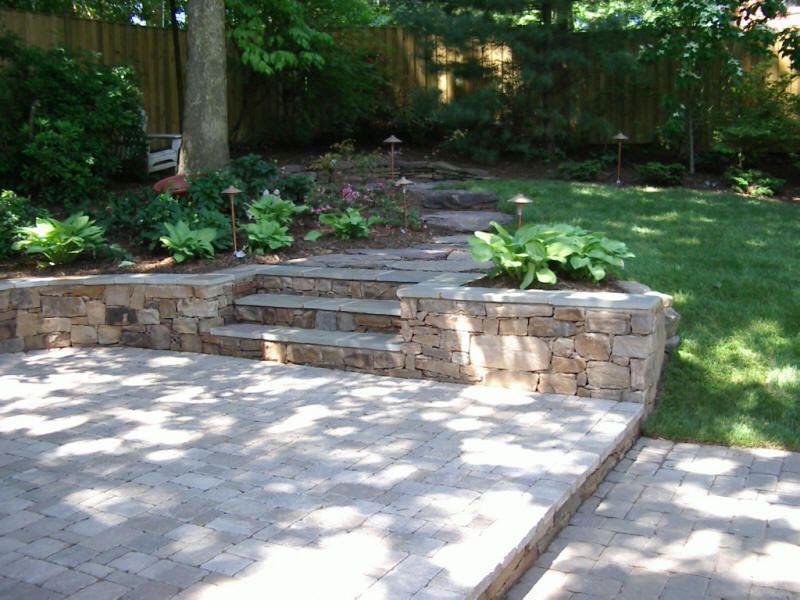garden wall ideas dublin. dublin cobble paver patio with split face west virginia stone wall garden ideas
