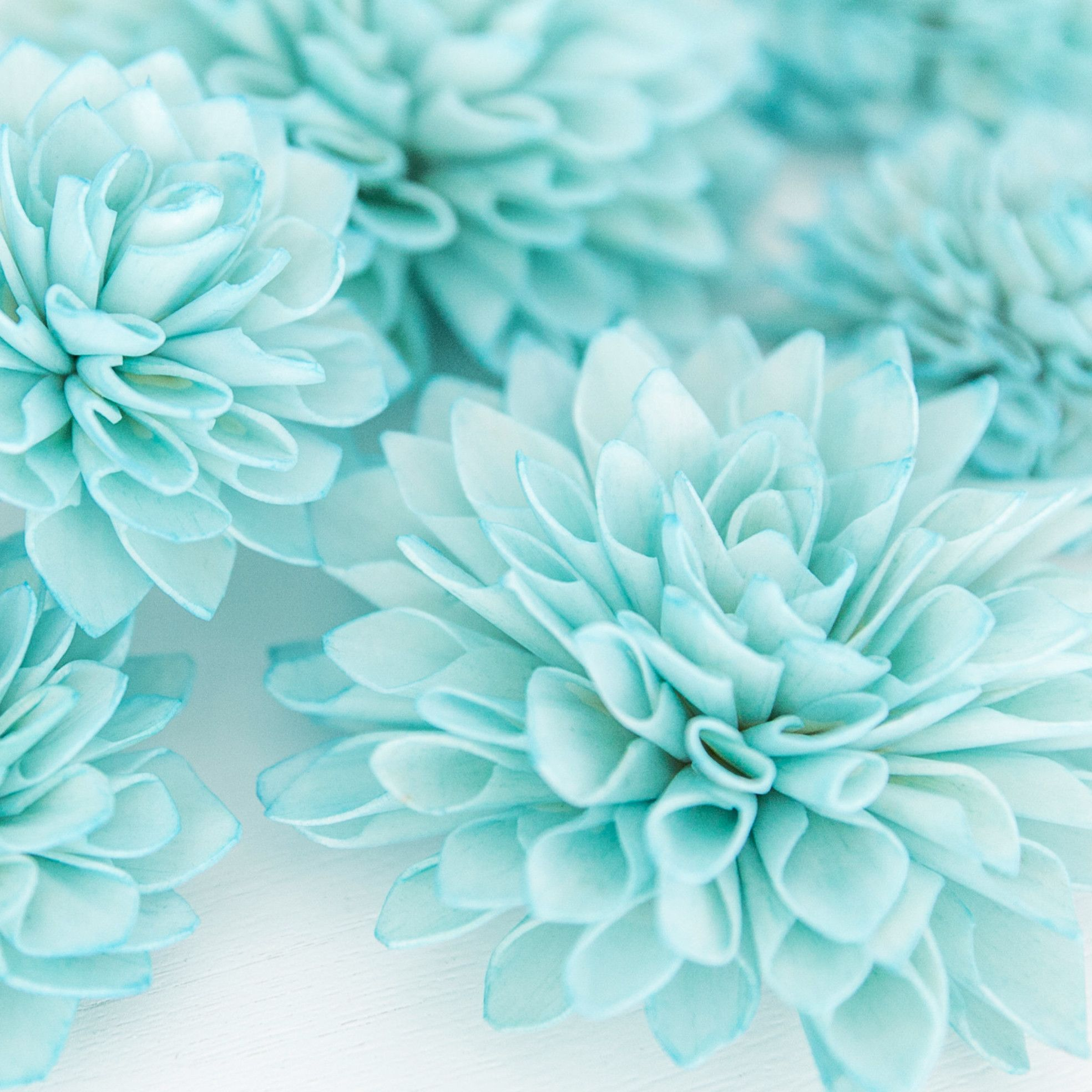 10 Aquamarine Wooden Flowers, Wedding Decorations, Wedding Flowers ...