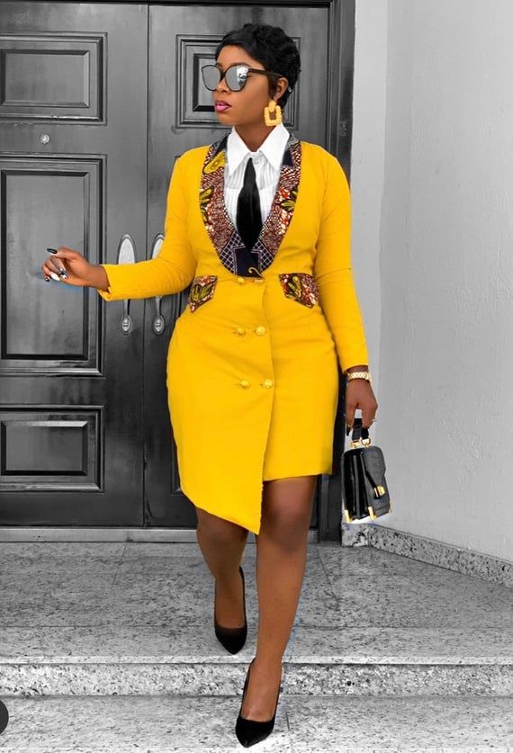African Blazer Dress, African clothing for women,African print, African Dress