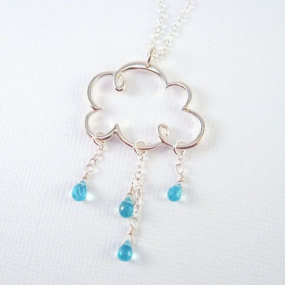 beautiful cloud and rain drop necklace by MariStarDesigns on etsy. spectacular!