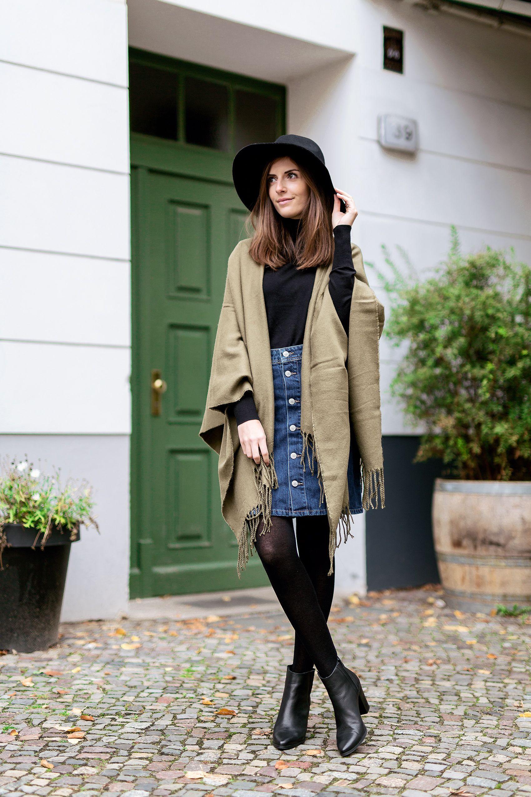 041dd8089f0e How to wear a denim skirt in winter | cute | Denim skirt outfit ...