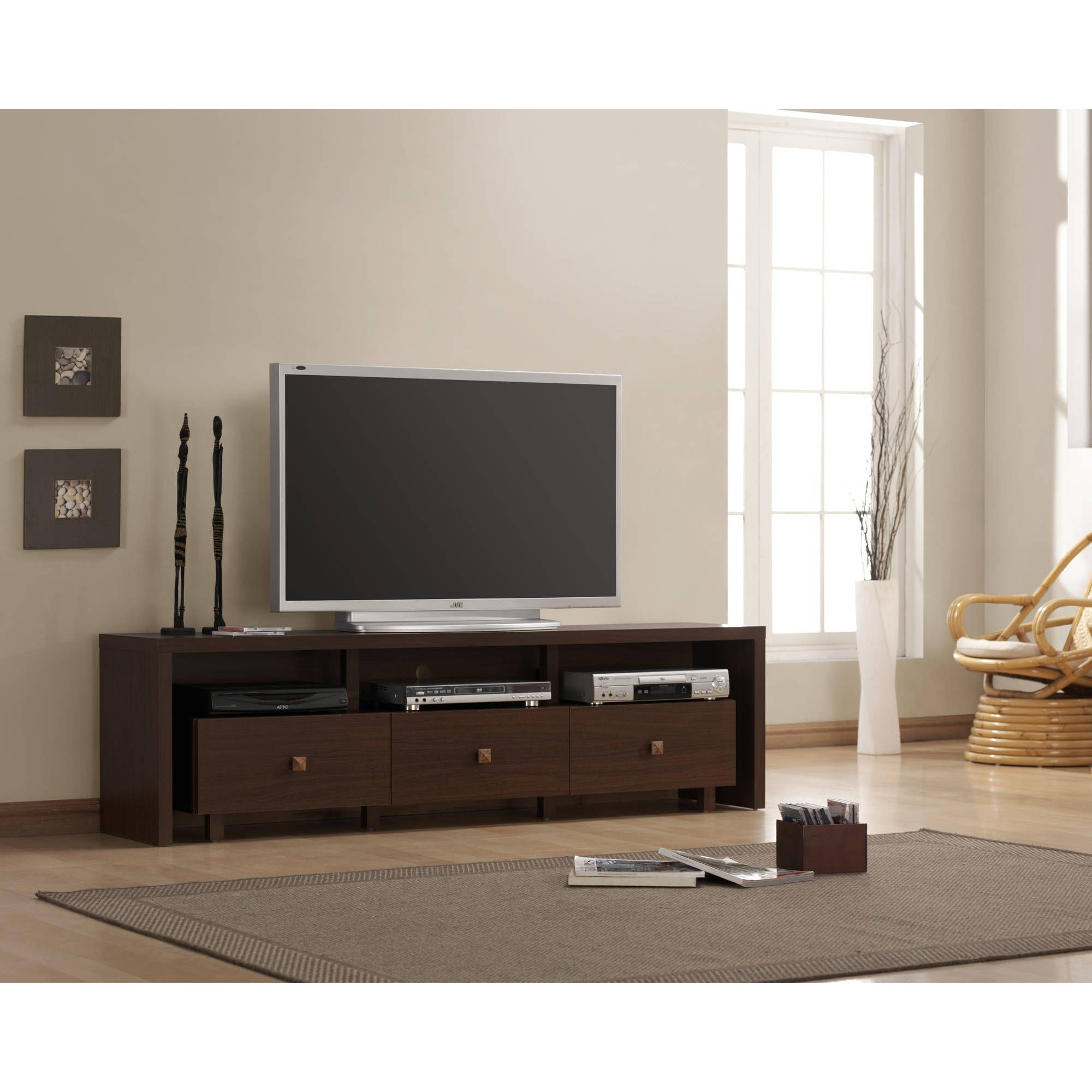 Techni Mobili Palma 3 Drawer TV Cabinet, Multiple Finishes For TVs Up To 70  Inch, Brown