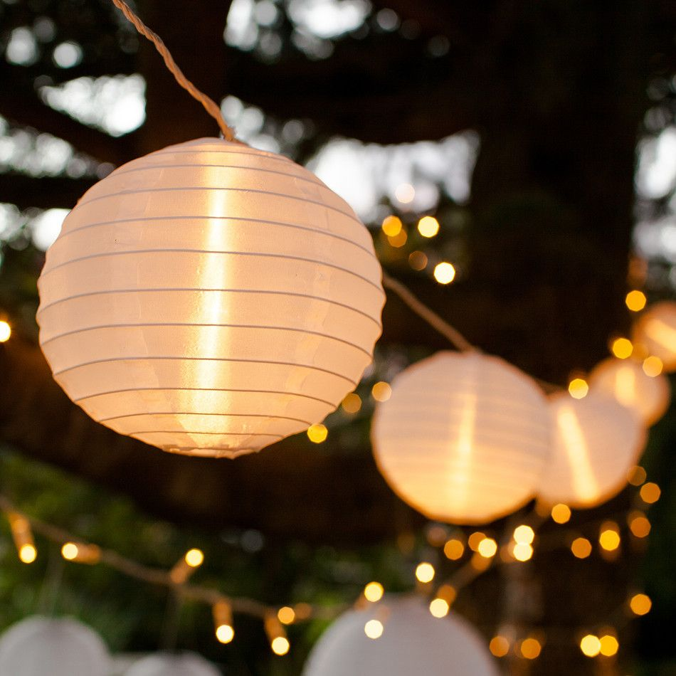 From Garden Gatherings To Alfresco Weddings These Weatherproof White Lanterns Will Brighten Up Your Events Indoor And Out Daintily Strung Along A Clear