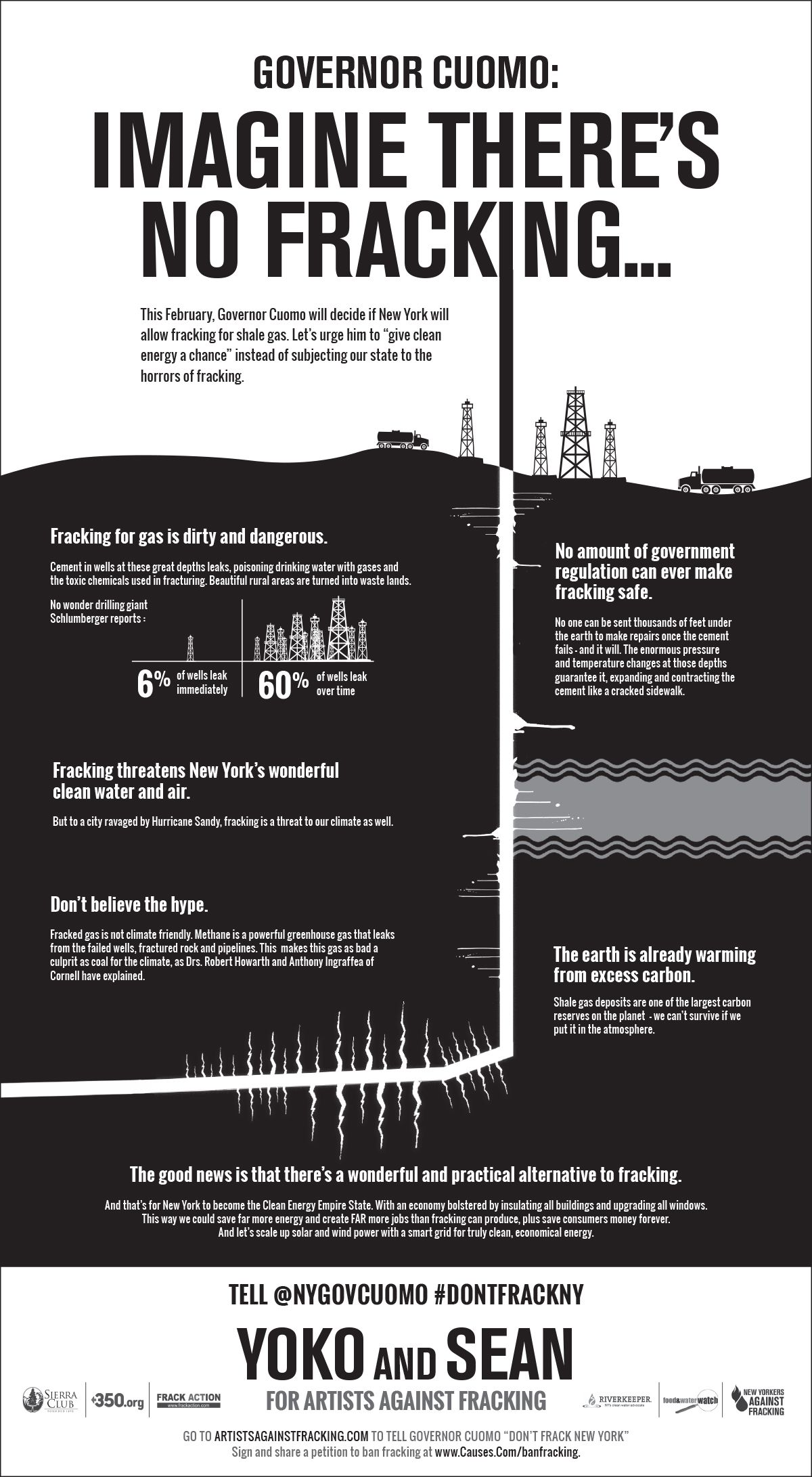 Tell Governor Cuomo Don T Frack New York Artists Against Fracking Causes Com Anti Fracking Sean Lennon Video Contest
