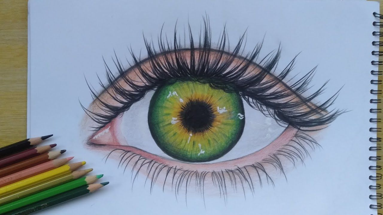 Learn How To Draw Eye With Colored Pencils Easy Step By Step Youtube Cool Eye Drawings Color Pencil Art Eye Drawing