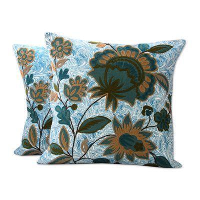Novica Splendid Blossom India Chain Stitch and Applique Cotton Pillow Cover