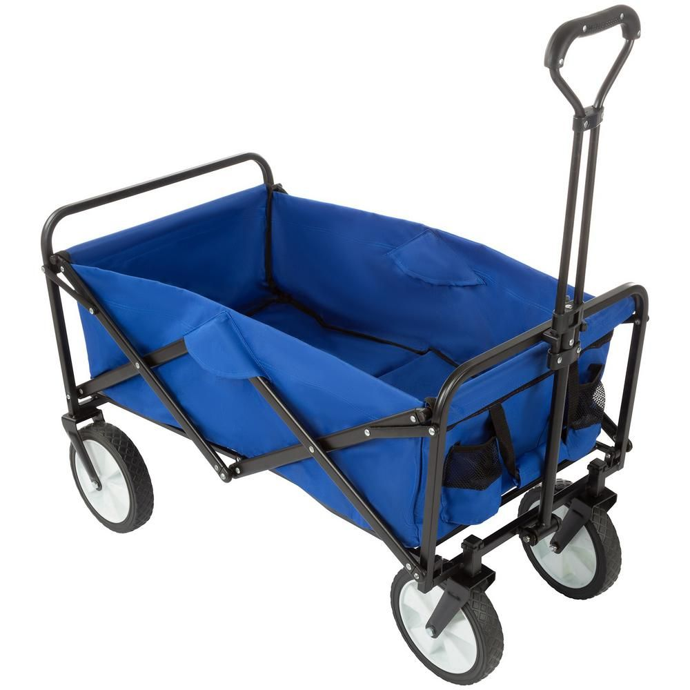 Pure Garden Collapsible Utility Wagon With Telescoping Handle