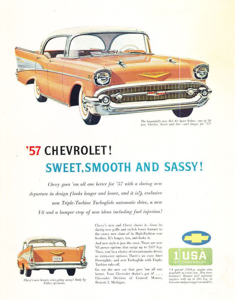 1957 Chevrolet Bel Air Grade B Cond Original Car Advertisement