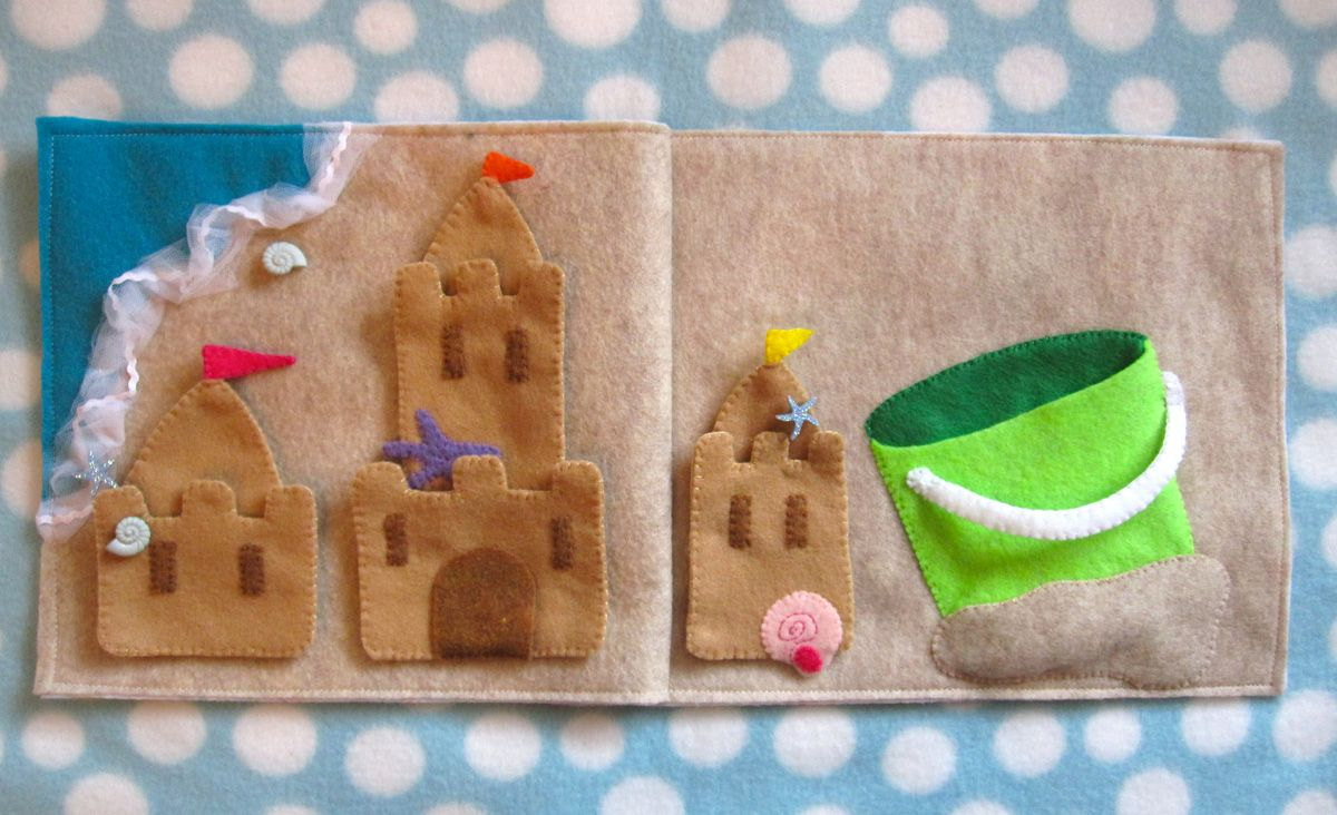 Sandcastle Quiet Book Page. THIS. IS. AWESOME. You build different castles, then store them in the bucket when you're done!!!