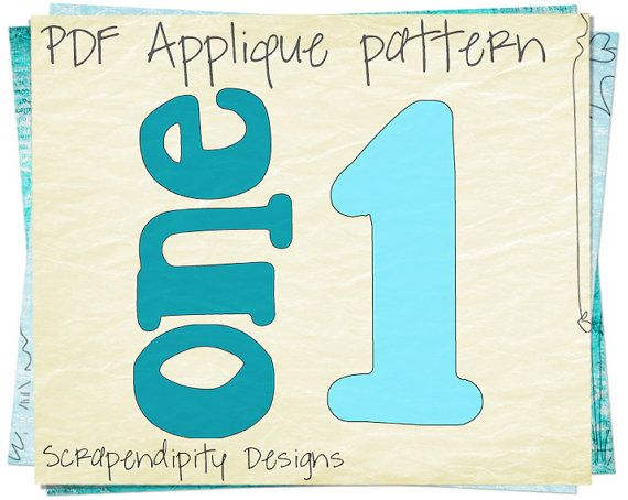 One Baby Applique Template - Number One Applique Pattern / Birthday Applique Shirt / One Applique Design / Applique Baby Clothing AP55-D