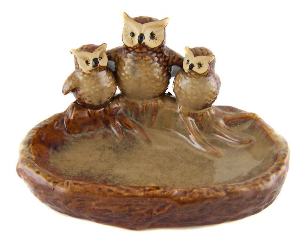 EARTHENWARE CERAMIC OWL BIRD FEEDER BOWL Garden Ornament Statue   New