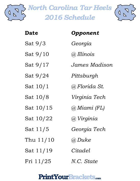 image about Fsu Football Schedule Printable identify Printable North Carolina Tar Heels Soccer Plan 2016