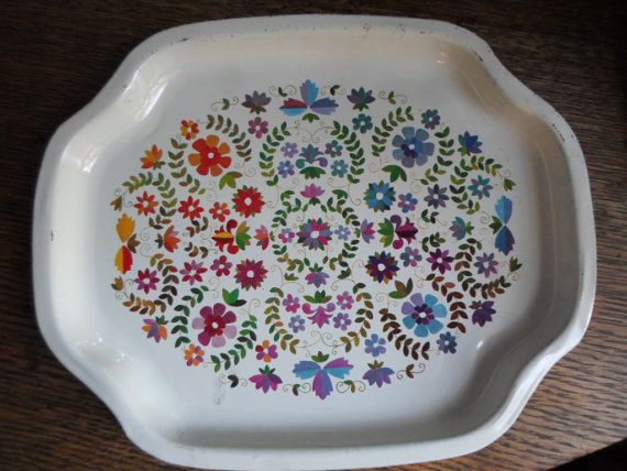 Vintage (1) Small Elite Metal Tray English Flowers Floral
