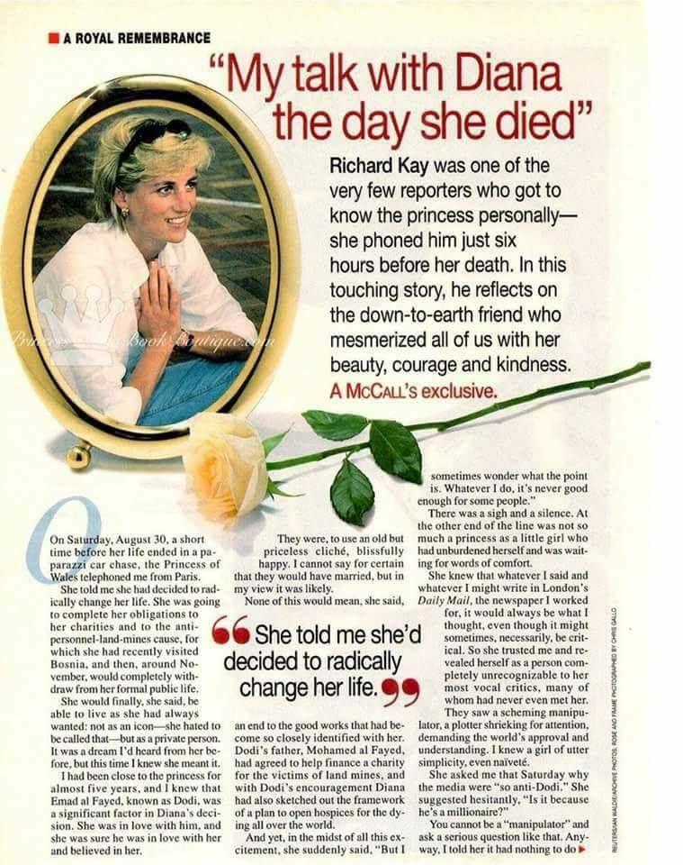 Richard Kay remembers Princess Diana.