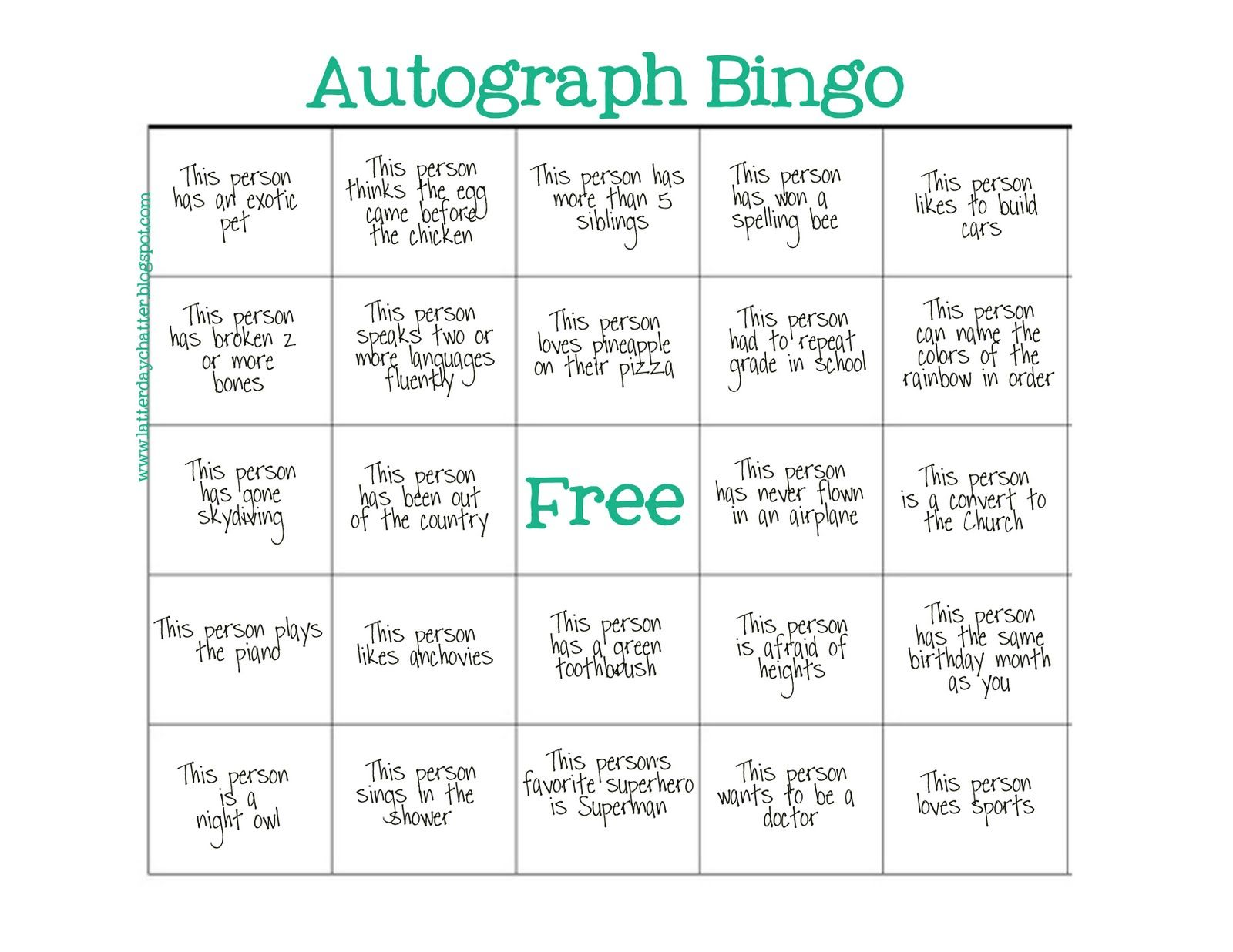 Autograph Bingo Latter Day Chatter Good Clean Fun