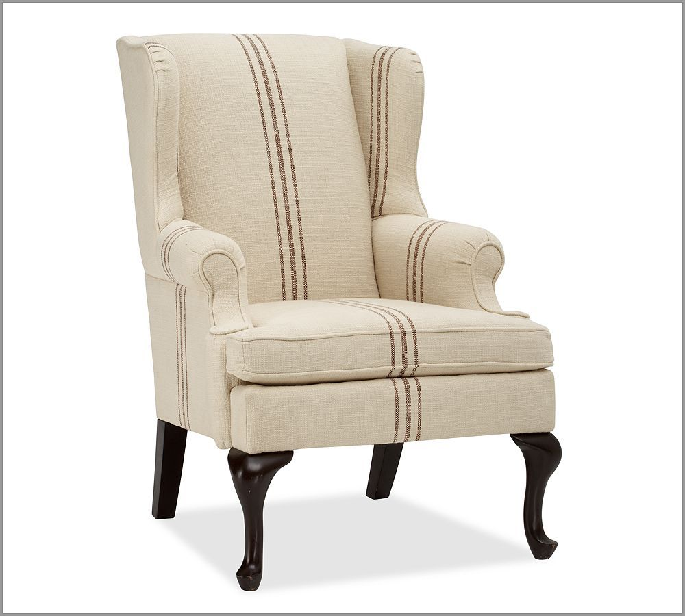 Gramercy wingback chair pottery barn striped