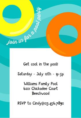 Floating Pool Invitation  Love It