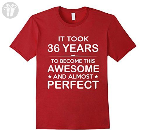 Mens Thirty Six 36 Year Old 36th Birthday Gift Ideas Her Him 2XL Cranberry