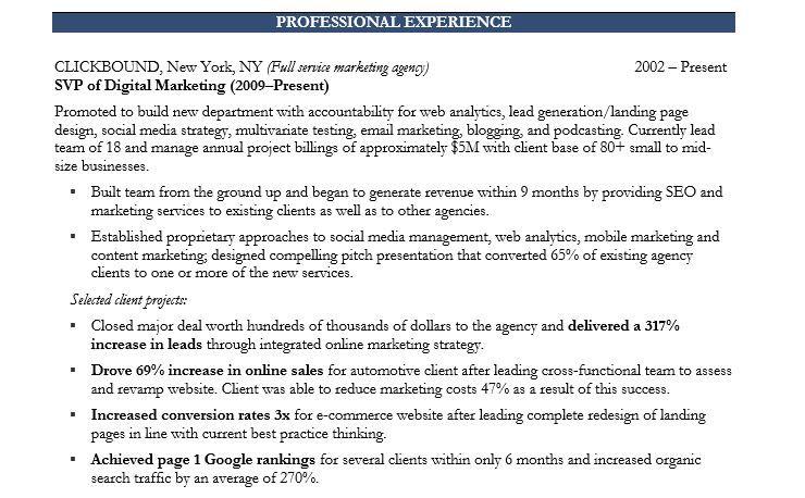 MarketingExecutive  Projekte    Marketing Resume